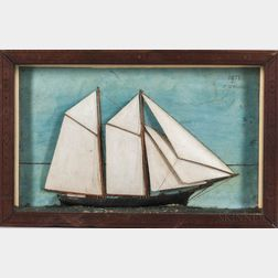 Shadow Box Diorama of a Two-masted Schooner