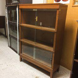 Globe-Wernicke Glazed Oak Three-stack Barrister Bookcase