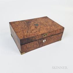 Brass-bound Burl Veneer Box