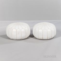 Pair of John Derian Moroccan Leather Poufs