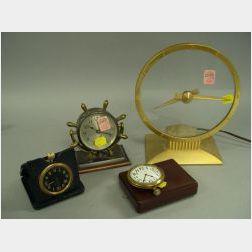 Jefferson Mystery Clock, a Small Chelsea Desk Clock, a John Bennett Ltd. Travel Clock and a Waltham Watch.