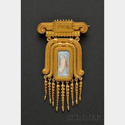 Etruscan Revival 18kt Gold and Enamel Brooch, Eugene Fontenay