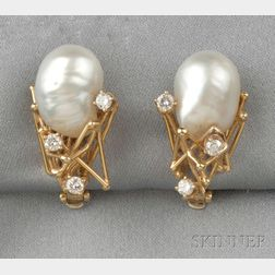 18kt Gold, Freshwater Pearl, and Diamond Earclips