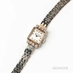 Vintage Movado 14kt White Gold and Diamond Lady's Wristwatch