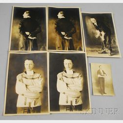 Set of Five Albumen Portrait Photographs of an Escape Artist/Magician and a   Postcard
