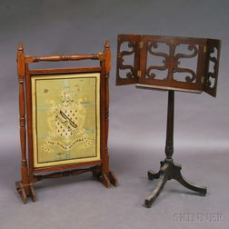 Victorian Oak Needlepoint Firescreen and a Carved Dictionary Stand