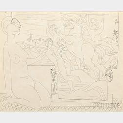 Pablo Picasso (Spanish, 1881-1973)      Modèle contemplant un groupe sculpté