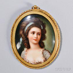 Framed Porcelain Portrait of a Lady