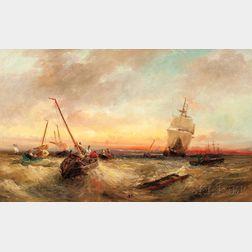 William Edward Webb (British, 1862-1903)      Wreckers on a Rough Sea