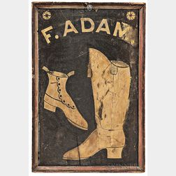 """Two-sided """"F. Adam"""" Boot and Shoemaker Trade Sign"""