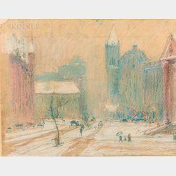 Arthur Clifton Goodwin (American, 1866-1929)      Cityscape in Winter.