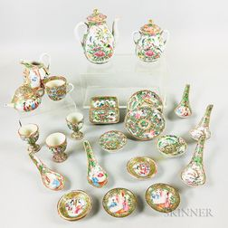 Twenty-three Rose Medallion Export Porcelain Table Items