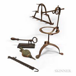 Wrought Iron Roasting Rack, Trammel, Sugar Cutter, and a Small Bellows.     Estimate $300-500