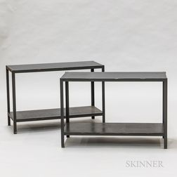 Pair of Contemporary Blue-painted Steel Side Tables