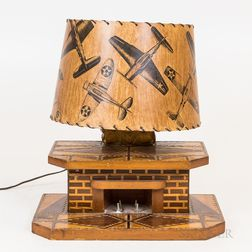 Marquetry Fireplace Lamp with Laminated Shade
