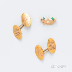 14kt Gold, Pearl, and Turquoise Crown Brooch and a Pair of 14kt Gold Monogrammed Cuff Links
