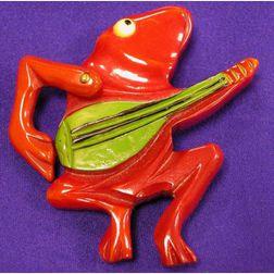 Bakelite Frog Brooch