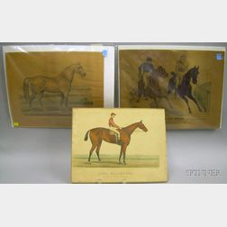 Three Unframed Currier & Ives Hand-colored Lithograph Horse Racing Prints