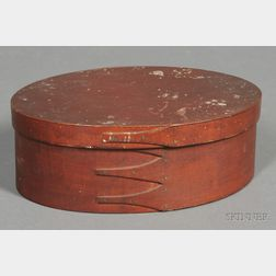 Shaker Red-painted Oval Covered Box
