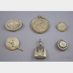 Six Pieces of Assorted Silver Jewelry and Other Items