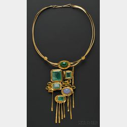 24kt and 18kt Gold Gem-set Necklace, Miye Matsukata, Janiye
