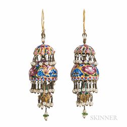 Gold and Polychrome Enamel Pendant Earrings