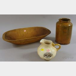 Glazed Redware Jar, a Hampshire Pottery Commodore MacDonoughs Victory Pitcher, and a Hand-hewn Oblong Trencher...