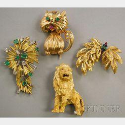 Four Gold Gem-set Jewelry Items