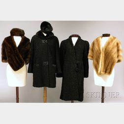 Two Vintage Fur Stoles and Two Lamb's Wool Coats