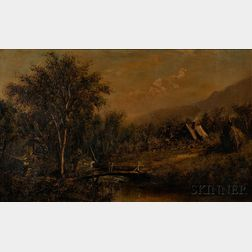 Anglo/American School, 19th Century    Landscape with Stream, Mill, and Cottage