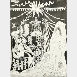 Pablo Picasso (Spanish, 1881-1973)      Homme allongé, avec deux femmes, évoquant les rapports d'un vieux clown et d'une jeune fille