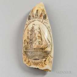 """""""Don't Give Up the Ship"""" Polychrome Decorated Scrimshaw Whale's Tooth"""