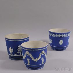 Three Wedgwood Dark Blue Jasper Jardinieres