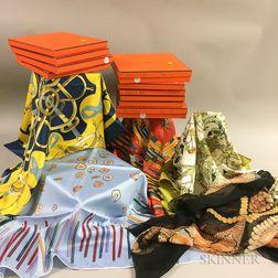 Ten Hermes Silk Scarves