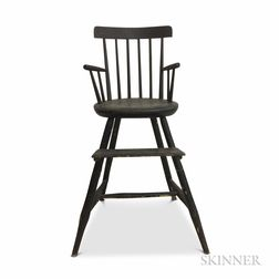 Black-painted Bamboo-turned Windsor High Chair