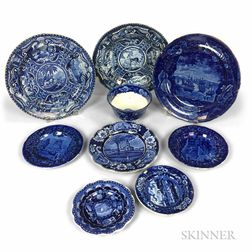 Nine Staffordshire Blue and White Transfer-decorated Ceramic Items