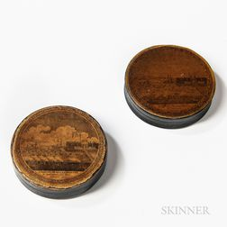 """Two """"Landing of Lafayette"""" Lacquered Snuff Boxes"""