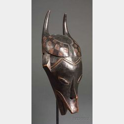 African Carved Wood Antelope Mask