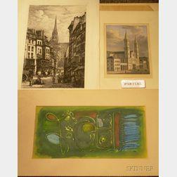 Lot of Eleven Unframed German/American Works on Paper