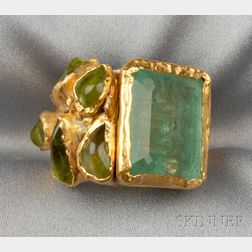 24kt and 18kt Gold, Emerald, and Peridot Ring, Janiye