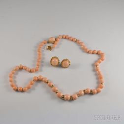 14kt Gold and Angelskin Coral Bead Necklace and Earrings