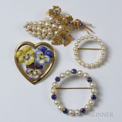 Four 14kt Gold and Pearl Brooches