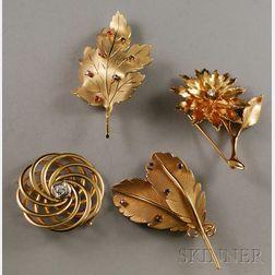 Four 14kt Gold Gem-set Brooches