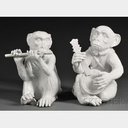 Two Ceramic Monkeys Playing Instruments