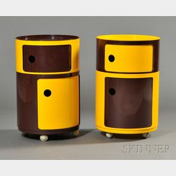 Two Anna Castelli Ferrieri for Kartell Componibili Round Units