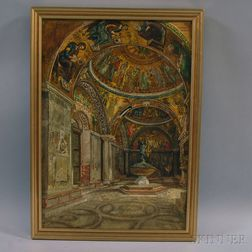 European School, 19th/20th Century      Byzantine Church Interior.