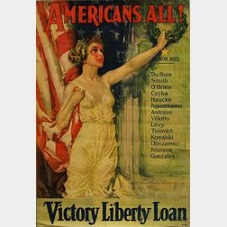 Howard Chandler Christy Americans All!   WWI Lithograph Poster