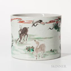 Famille Verte Brush Pot