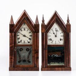 Brewster & Ingraham Cast Iron Backplate Steeple Clock and a Goodwin Steeple Clock