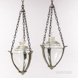 Pair of Owens Illinois Art Deco Apothecary Hanging Show Globes